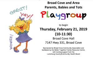 Broad Cove and Area Parents/Babies and Tots Playgroup @ Broad Cove Hall