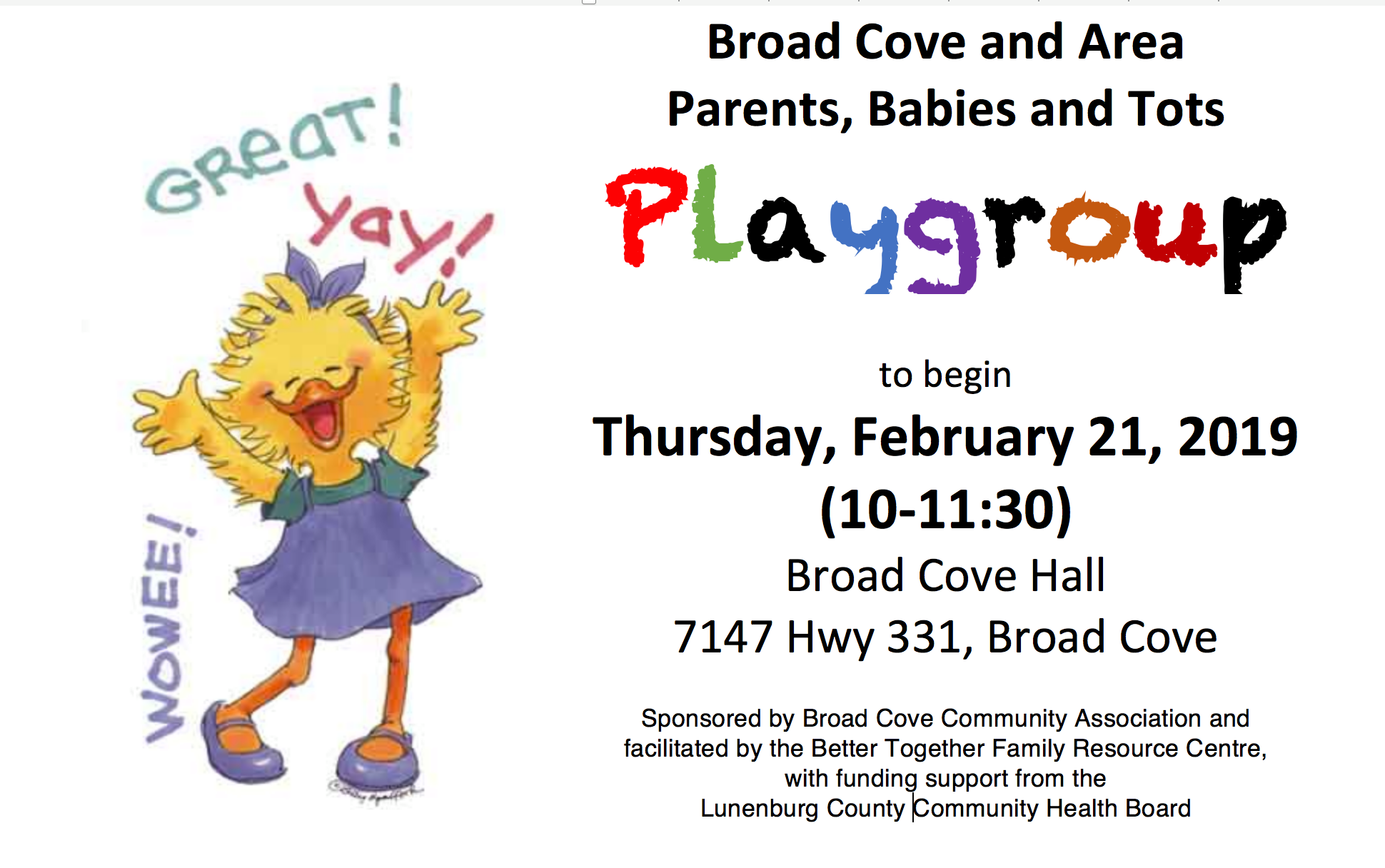Broad Cove and Area Parents/Babies and Tots Playgroup